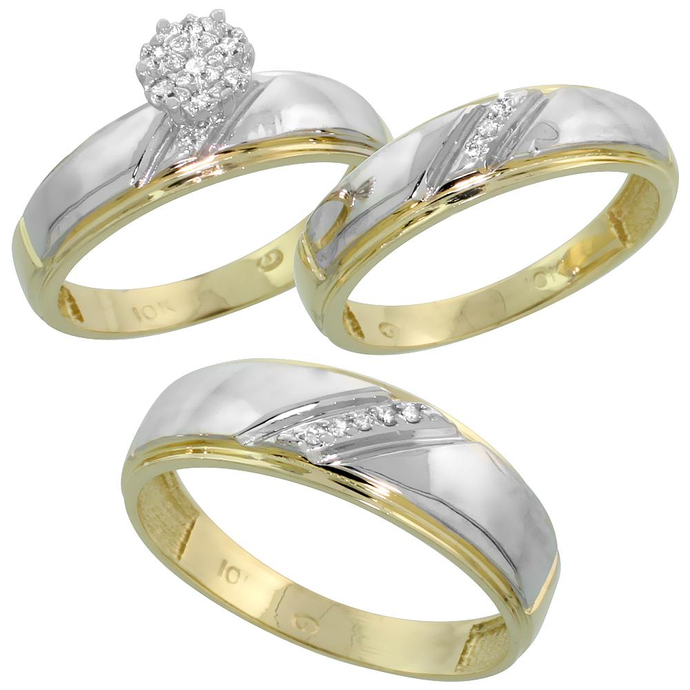 10k Yellow Gold Diamond Engagement Ring Women 0.04 cttw Brilliant Cut 7/32 inch 5.5mm wide