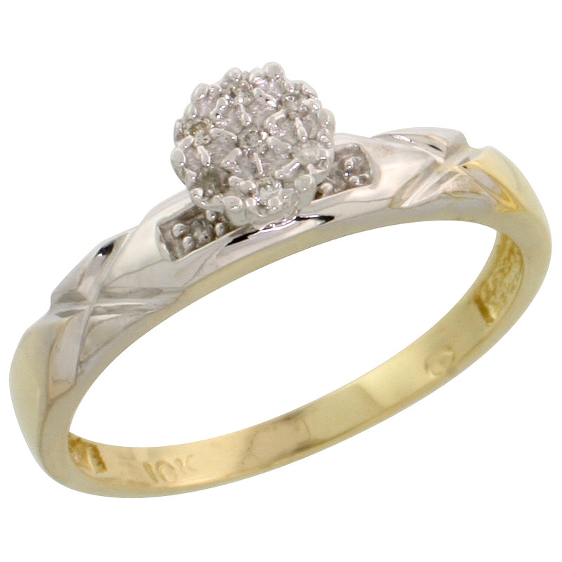 10k Yellow Gold Diamond Engagement Ring 0.06 cttw Brilliant Cut, 1/8 inch 3.5mm wide
