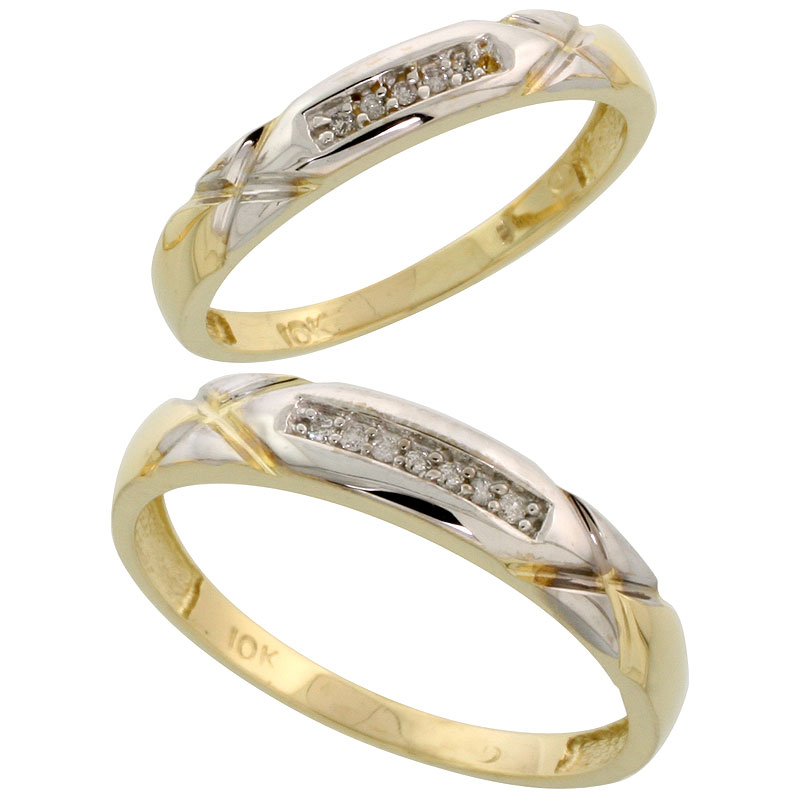 10k Yellow Gold Diamond Wedding Rings Set for him 4 mm and her 3.5 mm 2-Piece 0.07 cttw Brilliant Cut, ladies sizes 5 � 10, mens