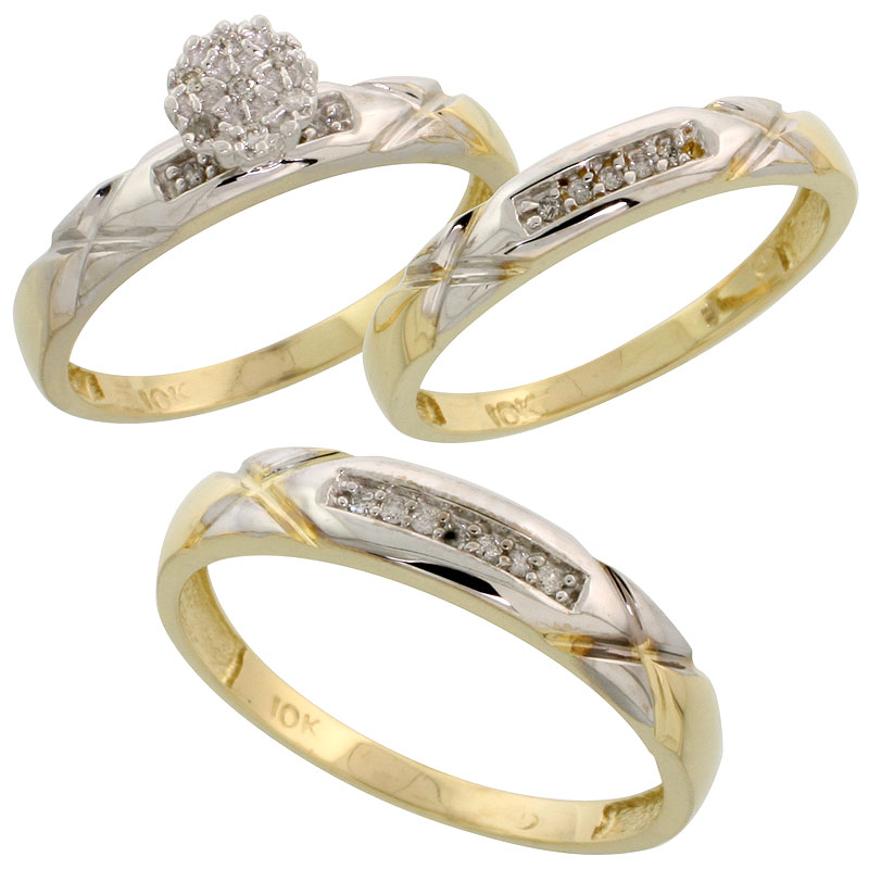 10k Yellow Gold Diamond Trio Engagement Wedding Ring Set for Him and Her 3-piece 4 mm & 3.5 mm wide 0.13 cttw Brilliant Cut, lad