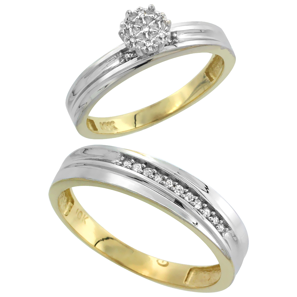 10k Yellow Gold Diamond Engagement Rings Set for Men and Women 2-Piece 0.09 cttw Brilliant Cut, 5 mm & 3 mm wide
