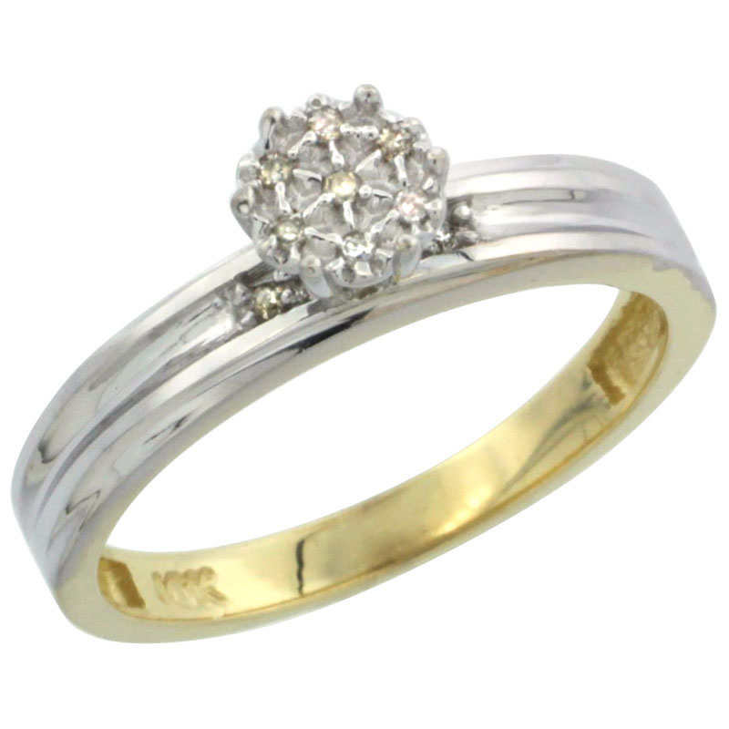 10k Yellow Gold Diamond Engagement Ring 0.05 cttw Brilliant Cut, 1/8 inch 3mm wide