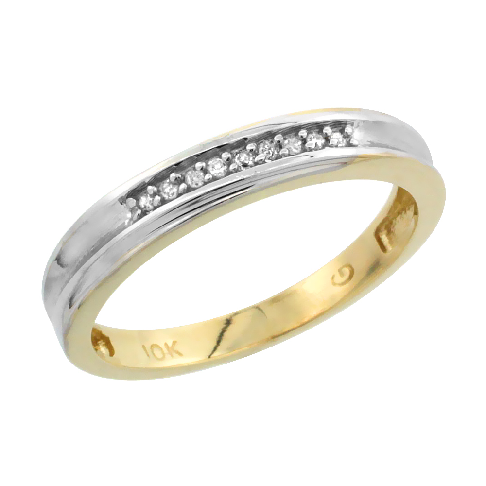 10k Yellow Gold Ladies Diamond Wedding Band Ring 0.02 cttw Brilliant Cut, 1/8 inch 3mm wide