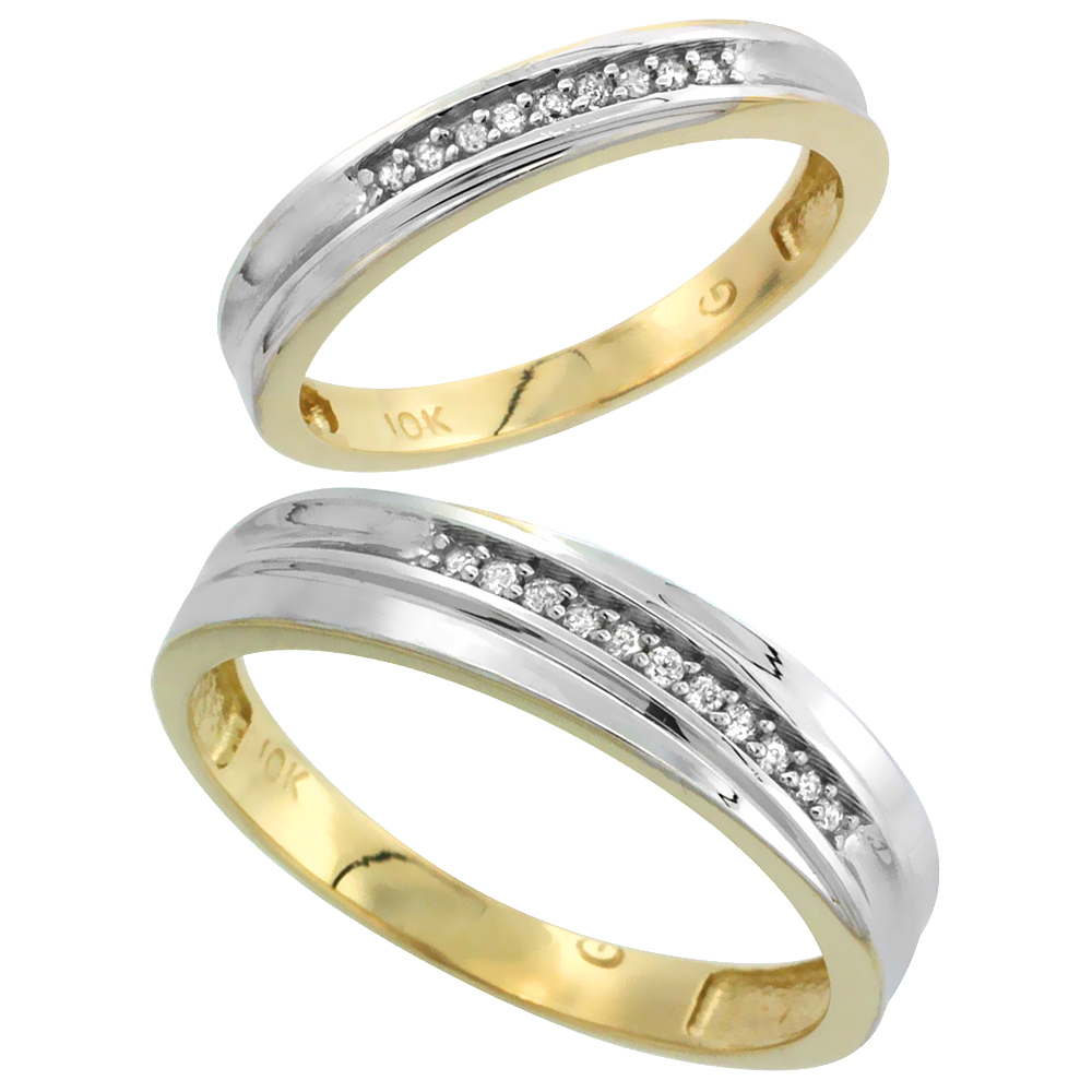10k Yellow Gold Diamond Wedding Rings Set for him 5 mm and her 3 mm 2-Piece 0.06 cttw Brilliant Cut, ladies sizes 5 � 10, mens s