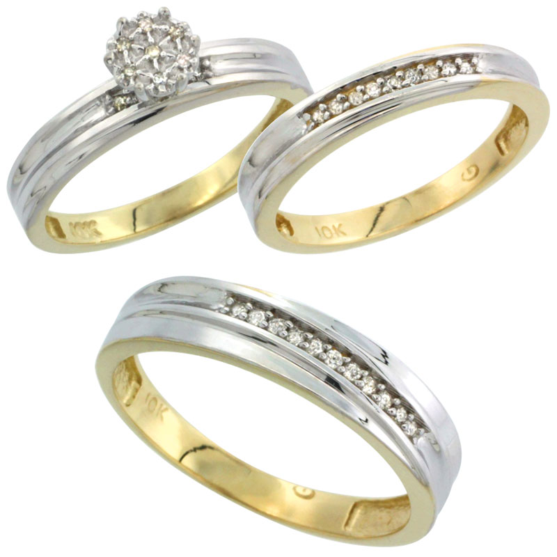10k Yellow Gold Diamond Trio Engagement Wedding Ring Set for Him and Her 3-piece 5 mm & 3 mm wide 0.11 cttw Brilliant Cut, ladie