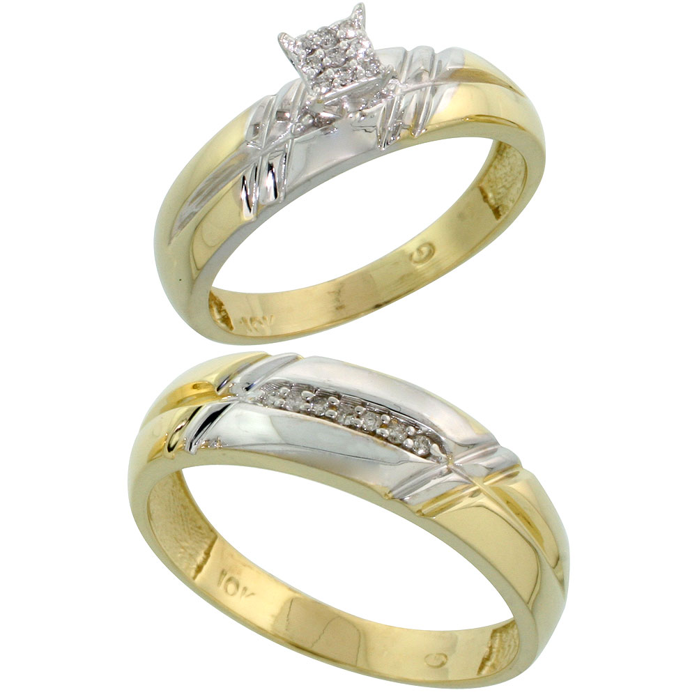 10k Yellow Gold Diamond Engagement Rings Set for Men and Women 2-Piece 0.10 cttw Brilliant Cut, 5.5mm & 6mm wide