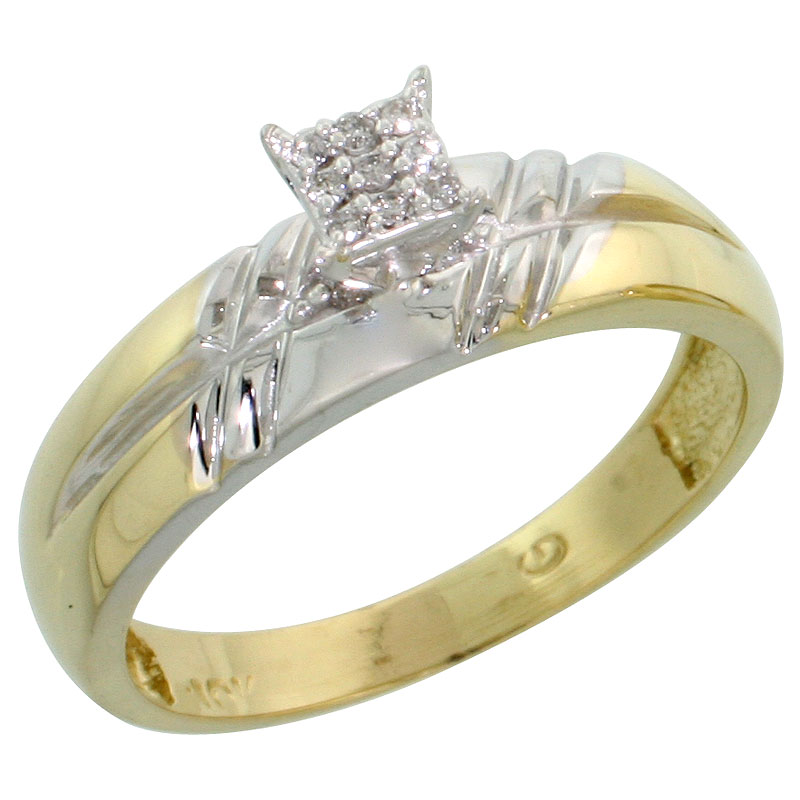 10k Yellow Gold Diamond Engagement Ring 0.06 cttw Brilliant Cut, 7/32 inch 5.5mm wide