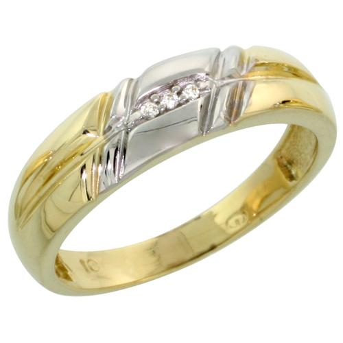 10k Yellow Gold Ladies Diamond Wedding Band Ring 0.02 cttw Brilliant Cut, 7/32 inch 5.5mm wide