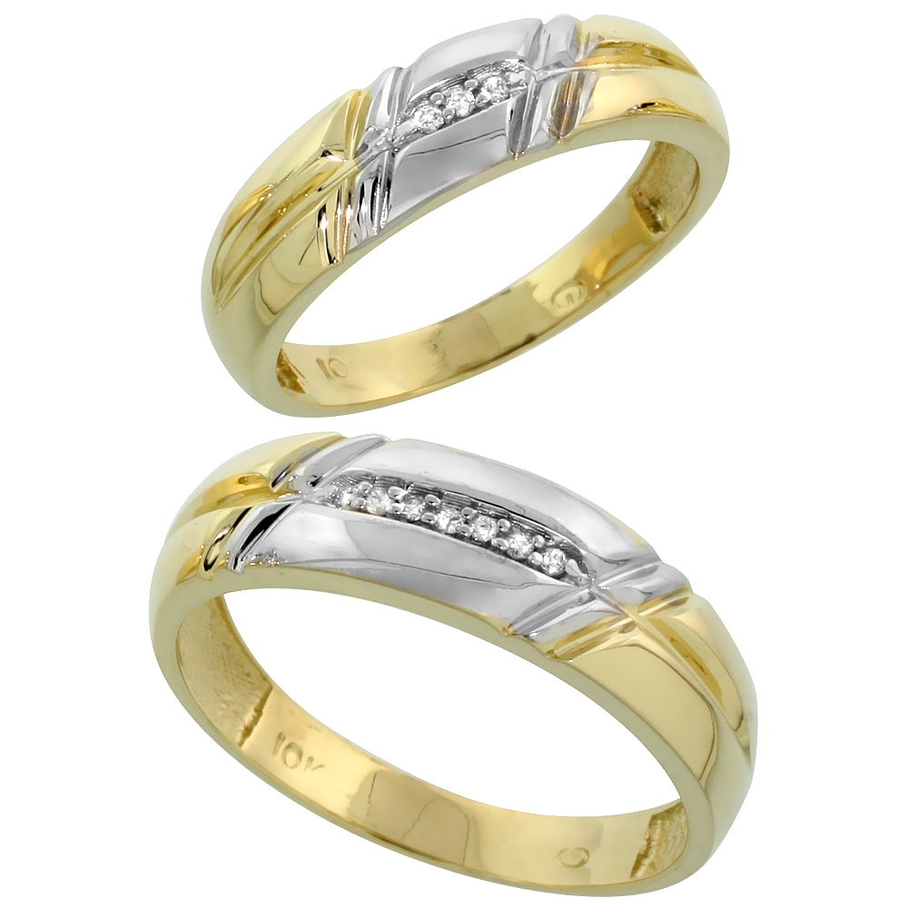 10k Yellow Gold Diamond Wedding Rings Set for him 6 mm and her 5.5 mm 2-Piece 0.06 cttw Brilliant Cut, ladies sizes 5 � 10, mens