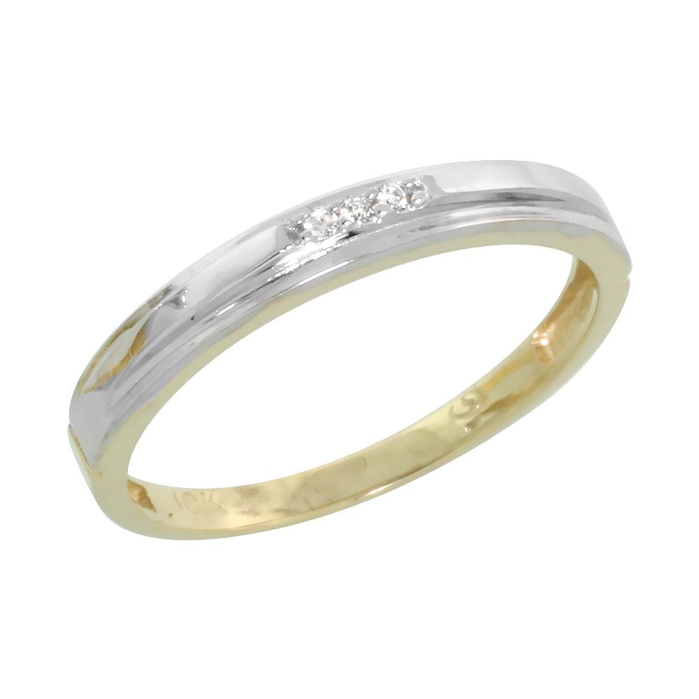 10k Yellow Gold Ladies Diamond Wedding Band Ring 0.02 cttw Brilliant Cut, 1/8 inch 3mm wide