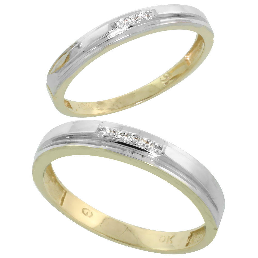 10k Yellow Gold Diamond Wedding Rings Set for him 4 mm and her 3 mm 2-Piece 0.05 cttw Brilliant Cut, ladies sizes 5 � 10, mens s