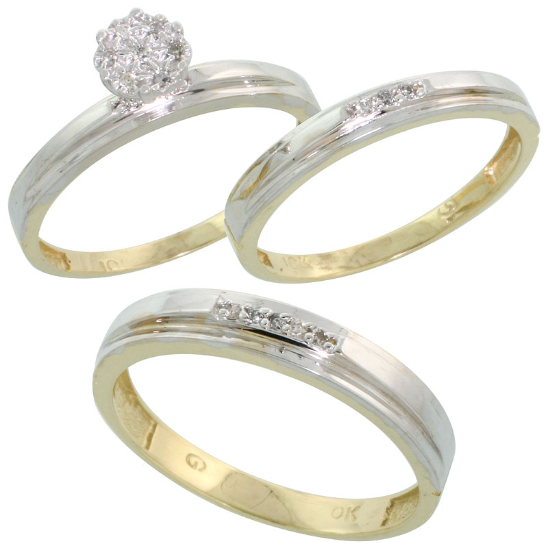 10k Yellow Gold Diamond Trio Engagement Wedding Ring Set for Him 4mm and Her 3 mm 3-piece 0.10 cttw Brilliant Cut, ladies sizes