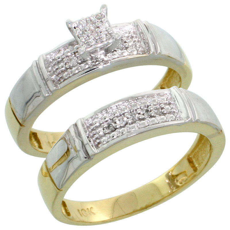 10k Yellow Gold Diamond Engagement Ring Set 2-Piece 0.10 cttw Brilliant Cut, 3/16 inch 4.5mm wide