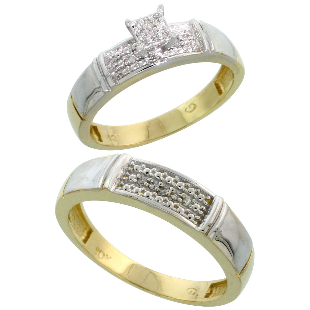 10k Yellow Gold Diamond Engagement Rings Set for Men and Women 2-Piece 0.10 cttw Brilliant Cut, 4.5mm & 5mm wide