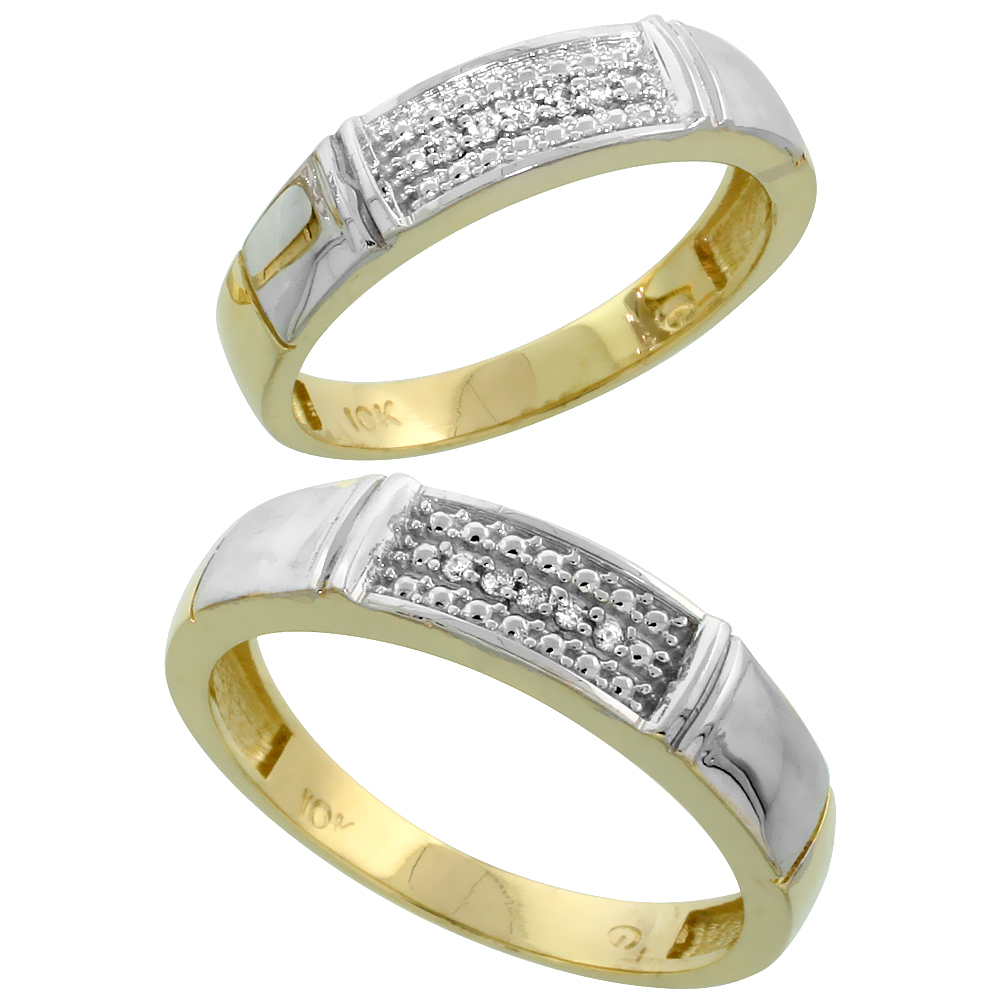 10k Yellow Gold Diamond Wedding Rings Set for him 5 mm and her 4.5 mm 2-Piece 0.06 cttw Brilliant Cut, ladies sizes 5 � 10, mens