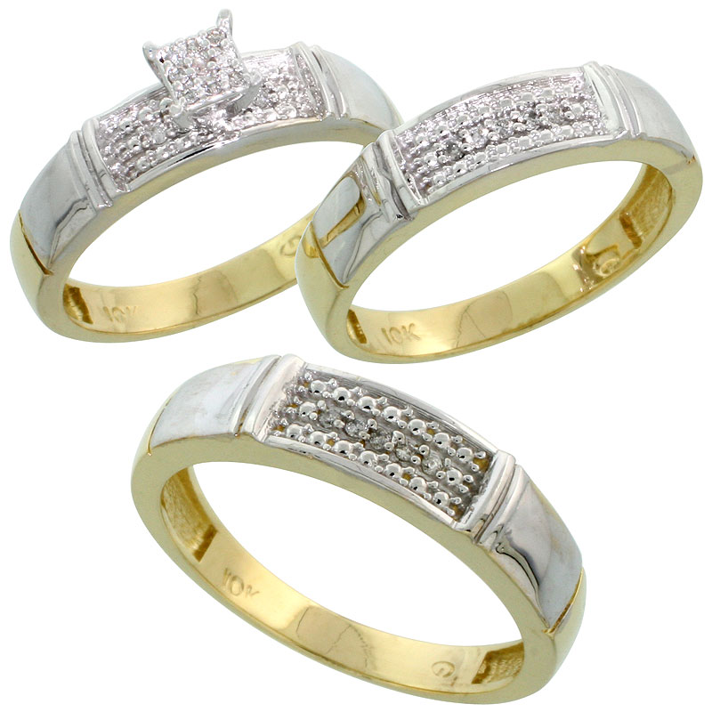 10k Yellow Gold Diamond Trio Engagement Wedding Ring Set for Him and Her 3-piece 5 mm & 4.5 mm, 0.13 cttw Brilliant Cut, ladies