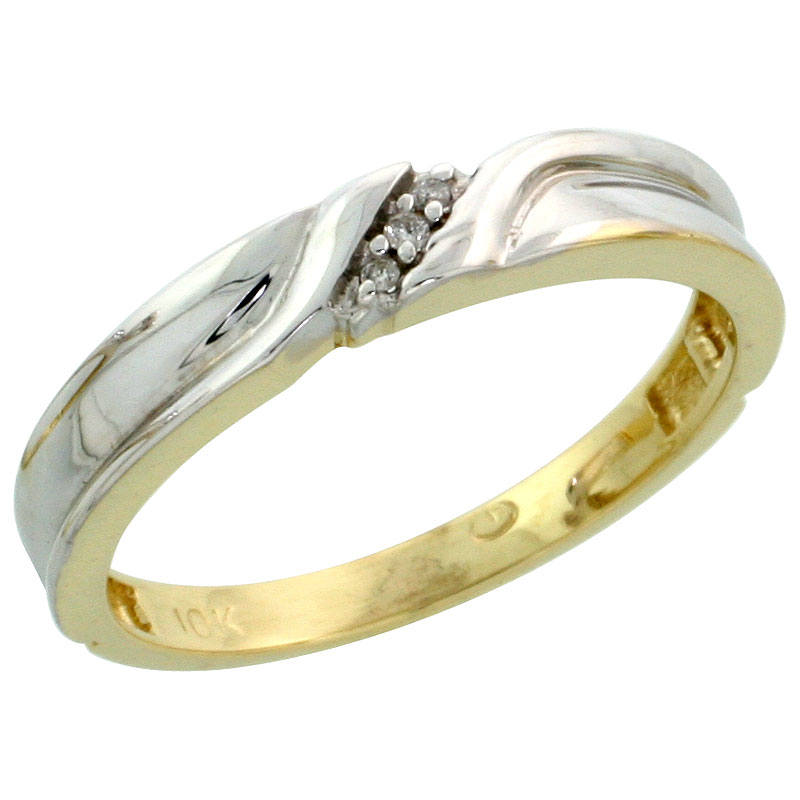 10k Yellow Gold Ladies Diamond Wedding Band Ring 0.02 cttw Brilliant Cut, 1/8 inch 3.5mm wide