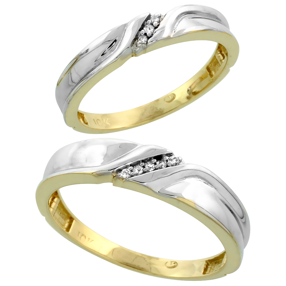 10k Yellow Gold Diamond Wedding Rings Set for him 5 mm and her 3.5 mm 2-Piece 0.06 cttw Brilliant Cut, ladies sizes 5 � 10, mens