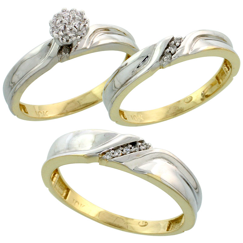 10k Yellow Gold Diamond Trio Engagement Wedding Ring Set for Him and Her 3-piece 5 mm & 3.5 mm wide 0.11 cttw Brilliant Cut, lad