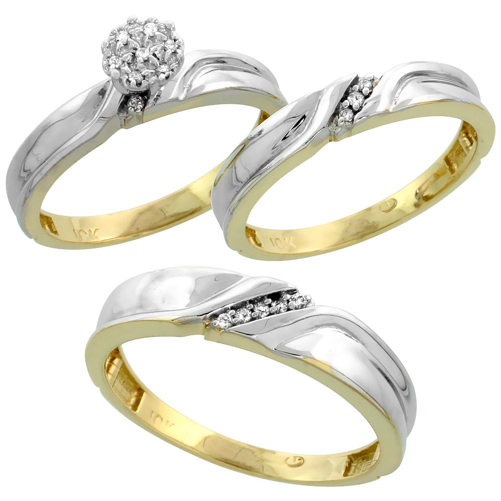 10k Yellow Gold Diamond Engagement Ring Women 0.05 cttw Brilliant Cut 1/8 inch 3.5mm wide
