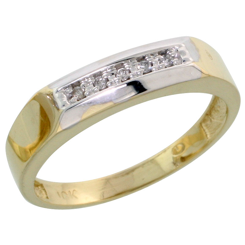 10k Yellow Gold Ladies Diamond Wedding Band Ring 0.03 cttw Brilliant Cut, 3/16 inch 4.5mm wide