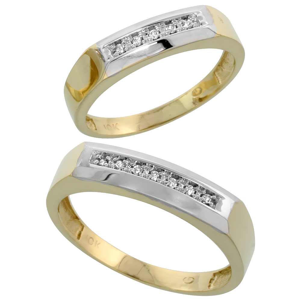 10k Yellow Gold Diamond Wedding Rings Set for him 5 mm and her 4.5 mm 2-Piece 0.07 cttw Brilliant Cut, ladies sizes 5 � 10, mens