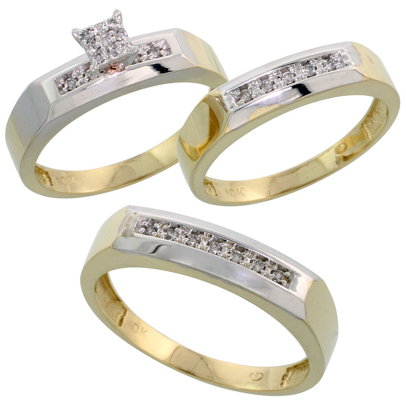 10k Yellow Gold Diamond Trio Engagement Wedding Ring Set for Him and Her 3-piece 5 mm & 4.5 mm, 0.14 cttw Brilliant Cut, ladies