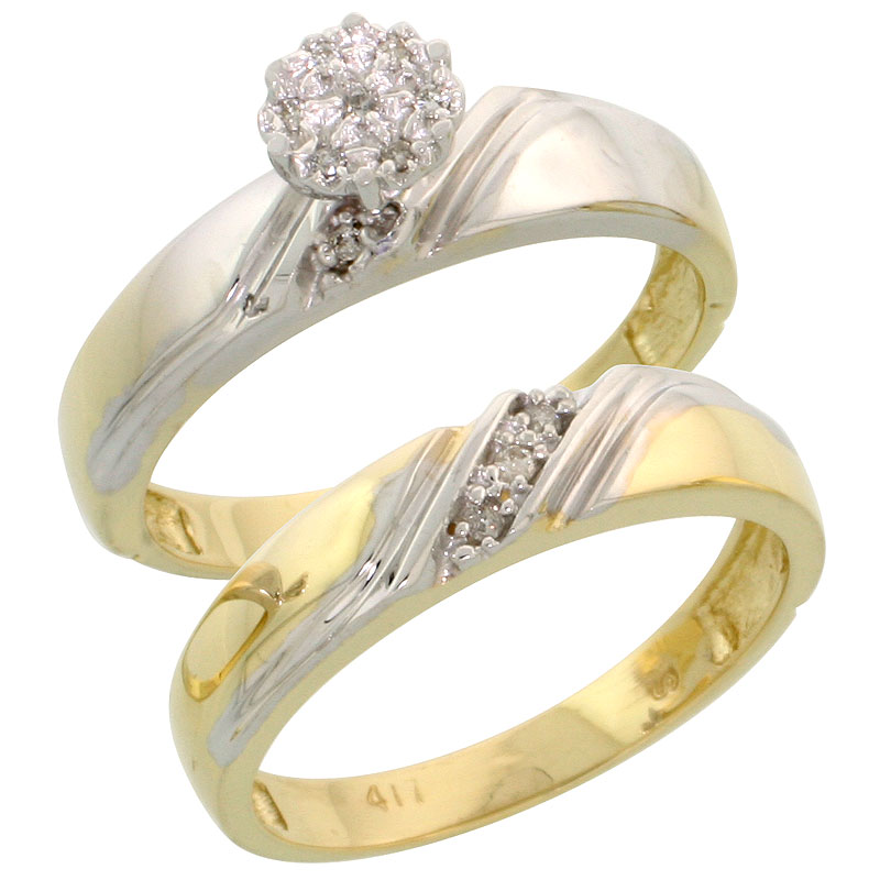 10k Yellow Gold Diamond Engagement Ring Set 2-Piece 0.07 cttw Brilliant Cut, 3/16 inch 4.5mm wide