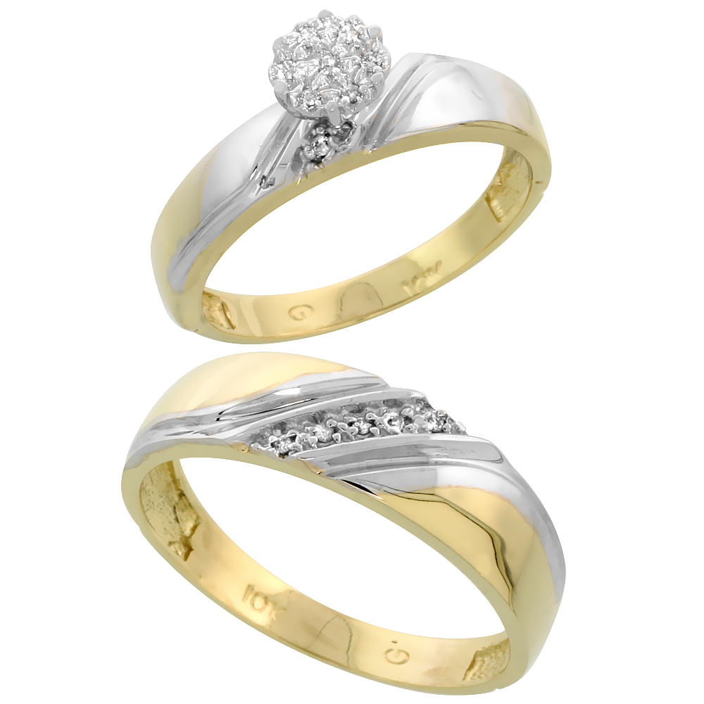 10k Yellow Gold Diamond Engagement Rings Set for Men and Women 2-Piece 0.08 cttw Brilliant Cut, 4.5mm & 6mm wide