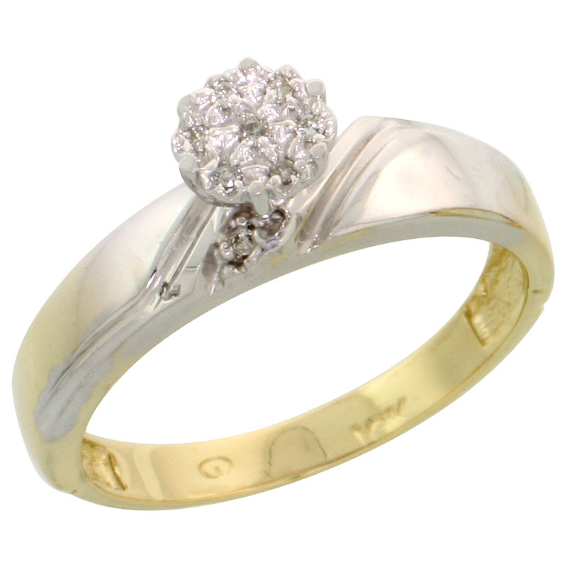 10k Yellow Gold Diamond Engagement Ring 0.05 cttw Brilliant Cut, 3/16 inch 4.5mm wide