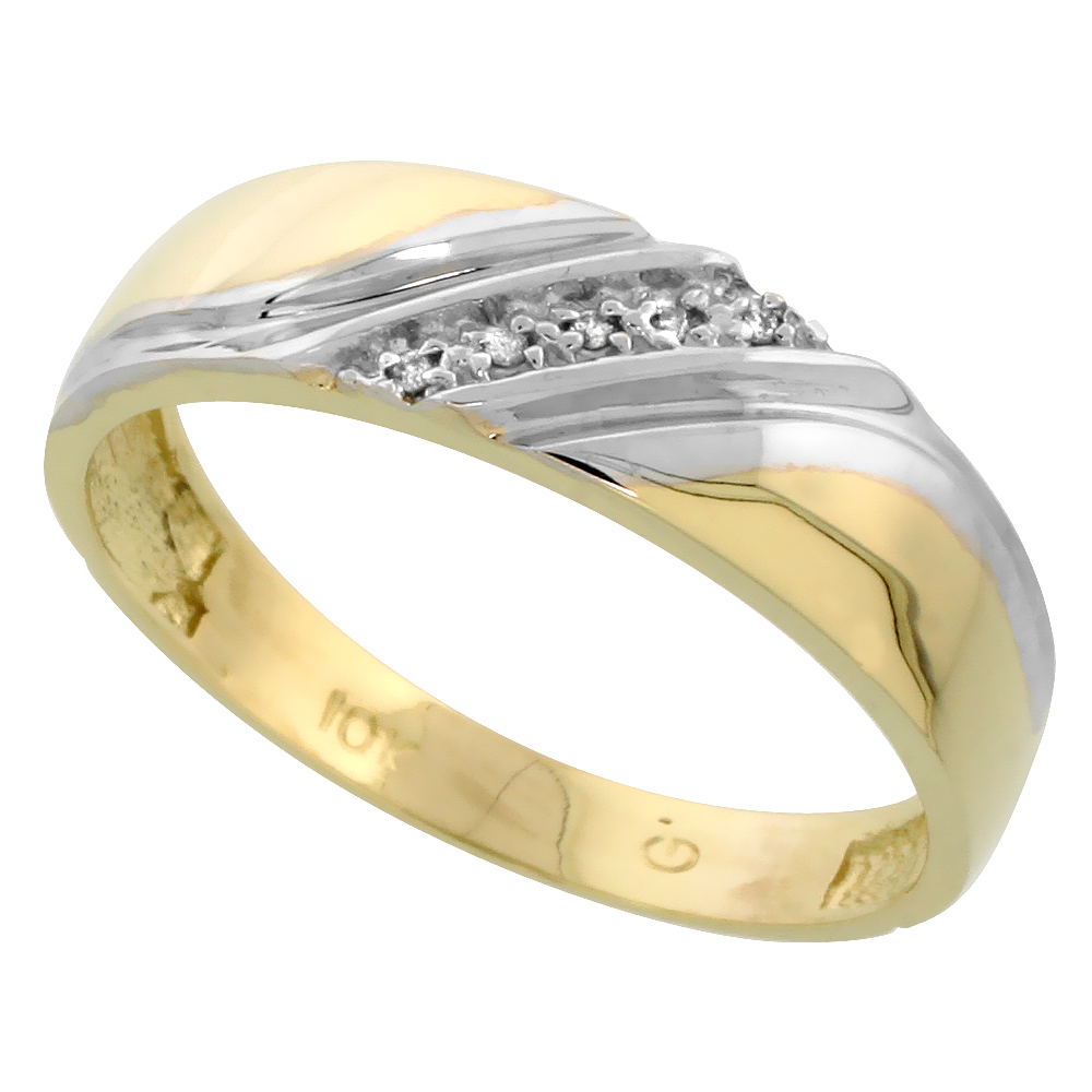 10k Yellow Gold Mens Diamond Wedding Band Ring 0.03 cttw Brilliant Cut, 1/4 inch 6mm wide