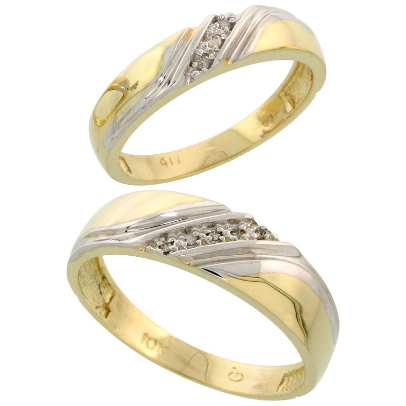 10k Yellow Gold Diamond Wedding Rings Set for him 6 mm and her 4.5 mm 2-Piece 0.05 cttw Brilliant Cut, ladies sizes 5 � 10, mens