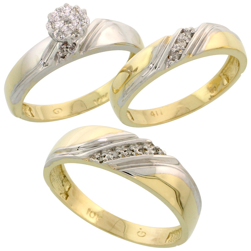 10k Yellow Gold Diamond Trio Engagement Wedding Ring Set for Him and Her 3-piece 6 mm & 4.5 mm wide 0.10 cttw Brilliant Cut, lad