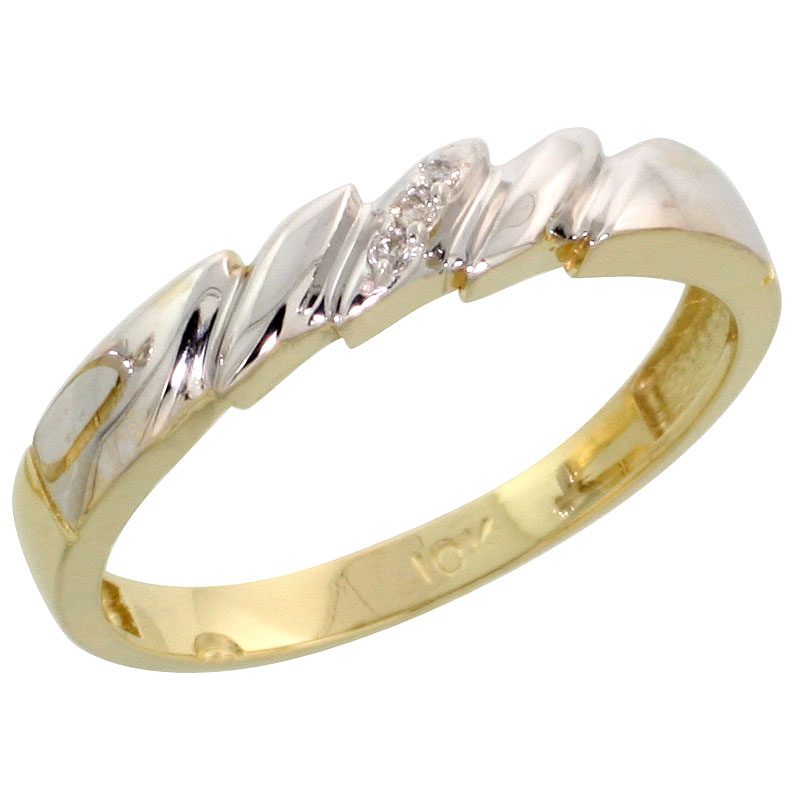 10k Yellow Gold Ladies Diamond Wedding Band Ring 0.02 cttw Brilliant Cut, 5/32 inch 4mm wide
