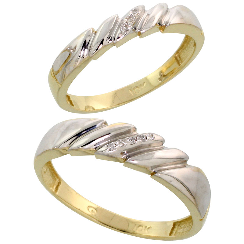 10k Yellow Gold Diamond Wedding Rings Set for him 5 mm and her 4 mm 2-Piece 0.05 cttw Brilliant Cut, ladies sizes 5 � 10, mens s