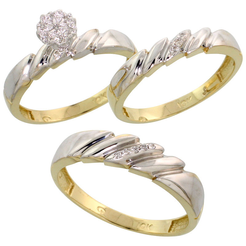 10k Yellow Gold Diamond Trio Engagement Wedding Ring Set for Him and Her 3-piece 5 mm & 4 mm wide 0.10 cttw Brilliant Cut, ladie