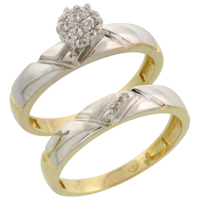 10k Yellow Gold Diamond Engagement Ring Set 2-Piece 0.07 cttw Brilliant Cut, 5/32 inch 4mm wide
