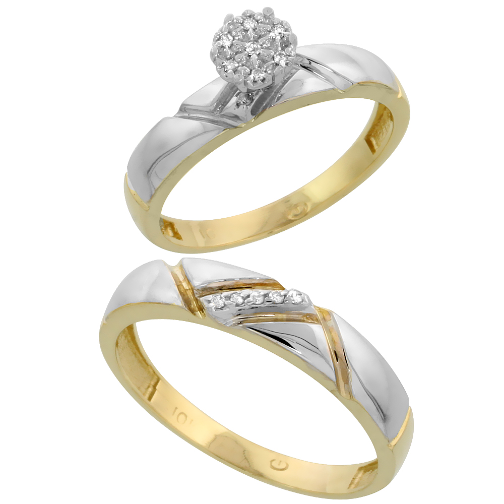 10k Yellow Gold Diamond Engagement Rings Set for Men and Women 2-Piece 0.08 cttw Brilliant Cut, 4mm & 4.5mm wide