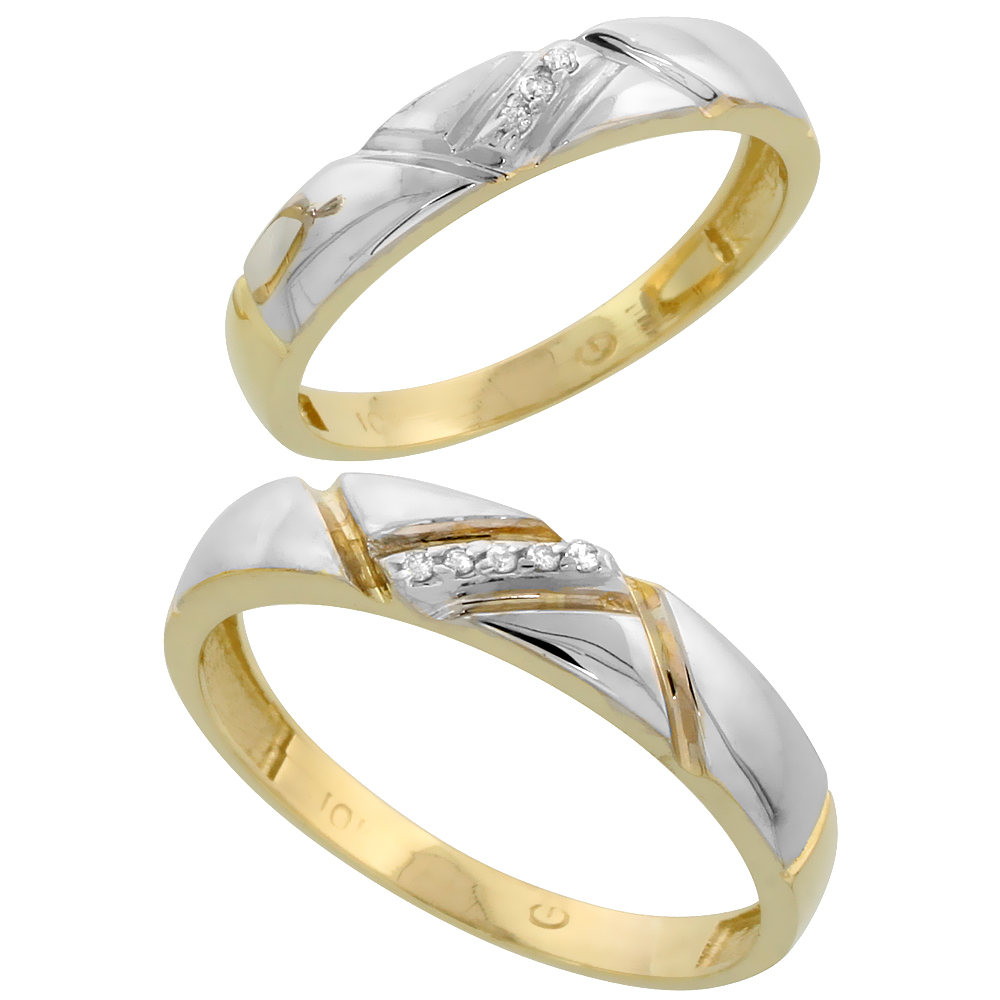 10k Yellow Gold Diamond 2 Piece Wedding Ring Set His 4.5mm & Hers 4mm, Men's Size 8 to 14