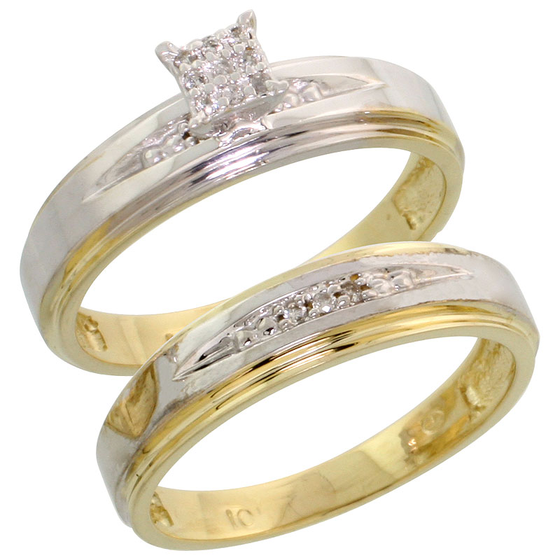 10k Yellow Gold Diamond Engagement Ring Set 2-Piece 0.08 cttw Brilliant Cut, 3/16 inch 5mm wide