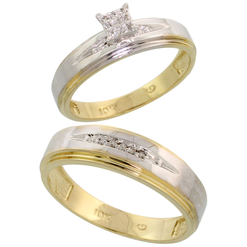 10k Yellow Gold Diamond Engagement Rings Set for Men and Women 2-Piece 0.09 cttw Brilliant Cut, 5mm & 6mm wide