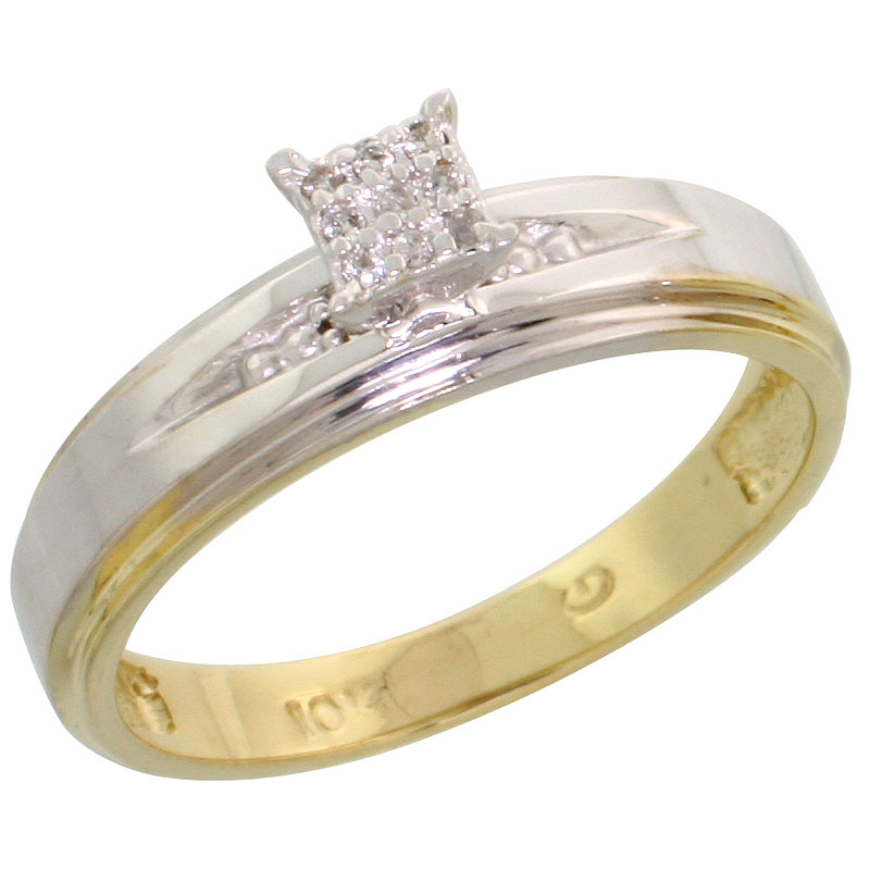 10k Yellow Gold Diamond Engagement Ring 0.06 cttw Brilliant Cut, 3/16 inch 5mm wide