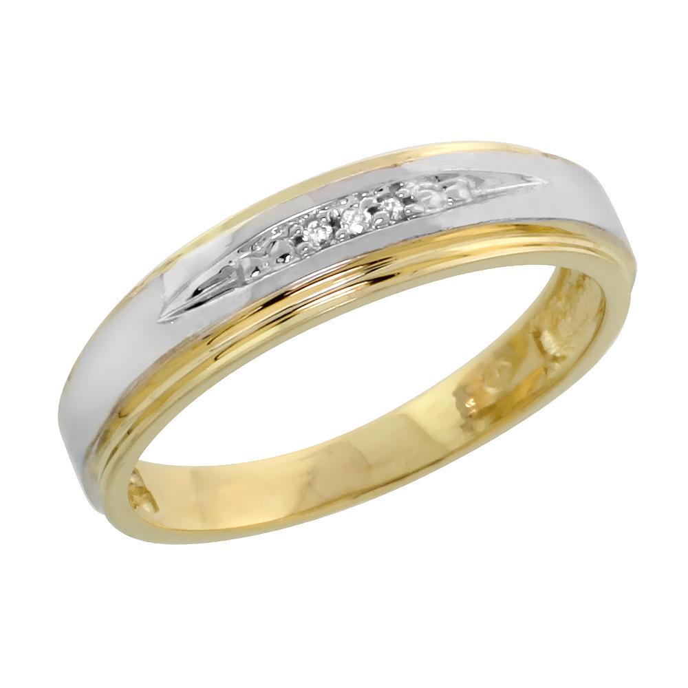 10k Yellow Gold Ladies Diamond Wedding Band Ring 0.02 cttw Brilliant Cut, 3/16 inch 5mm wide