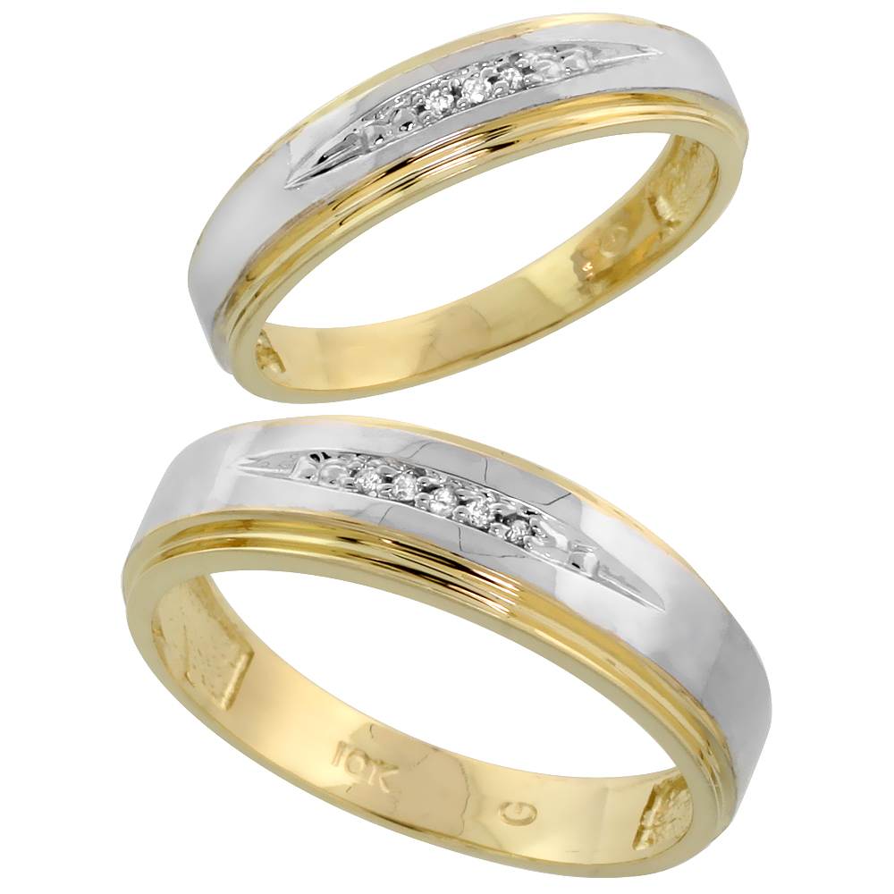 10k Yellow Gold Diamond Wedding Rings Set for him 6 mm and her 5 mm 2-Piece 0.05 cttw Brilliant Cut, ladies sizes 5 � 10, mens s