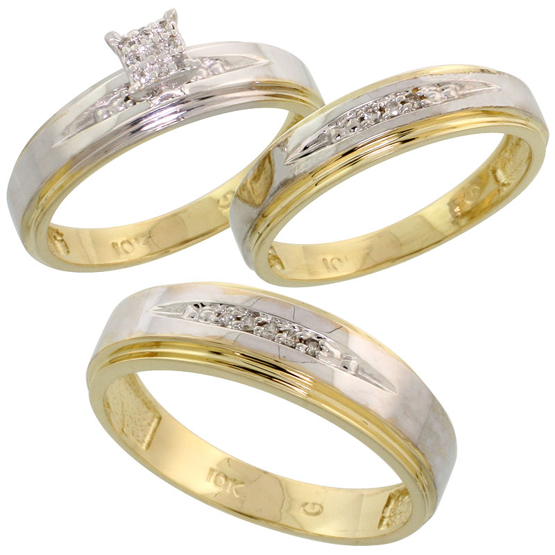 10k Yellow Gold Diamond Trio Engagement Wedding Ring Set for Him and Her 3-piece 6 mm & 5 mm wide 0.11 cttw Brilliant Cut, ladie