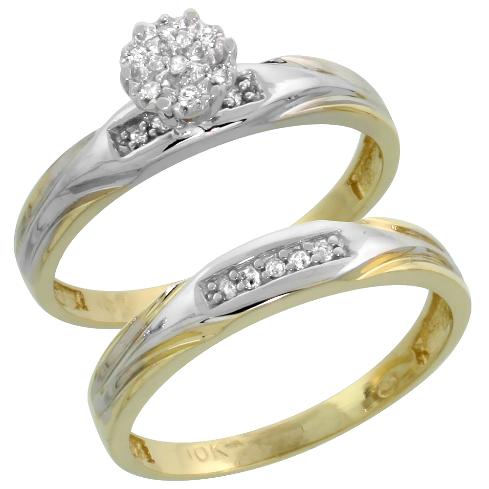 10k Yellow Gold Diamond Engagement Ring Set 2-Piece 0.09 cttw Brilliant Cut, 1/8 inch 3.5mm wide