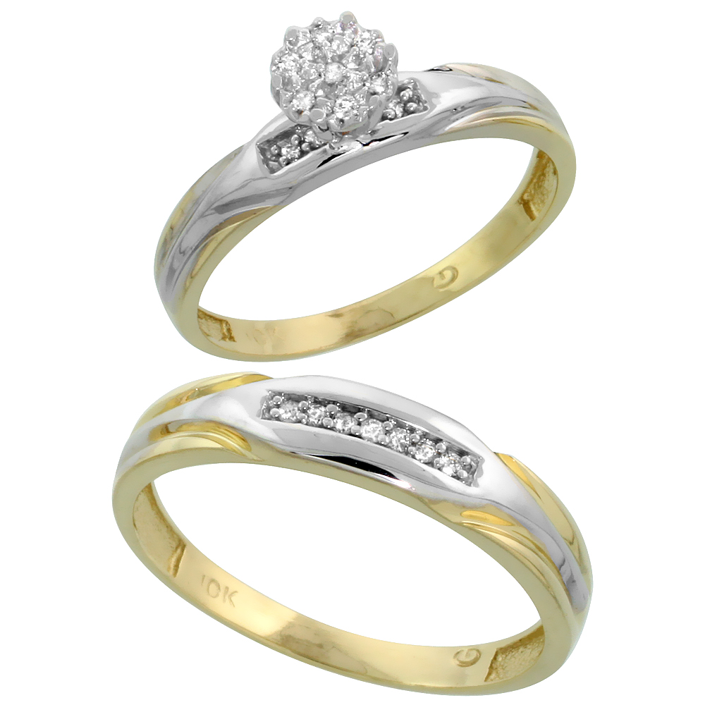 10k Yellow Gold Diamond Engagement Rings Set for Men and Women 2-Piece 0.10 cttw Brilliant Cut, 3.5mm & 4.5mm wide