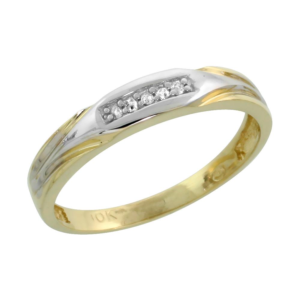10k Yellow Gold Ladies Diamond Wedding Band Ring 0.03 cttw Brilliant Cut, 1/8 inch 3.5mm wide