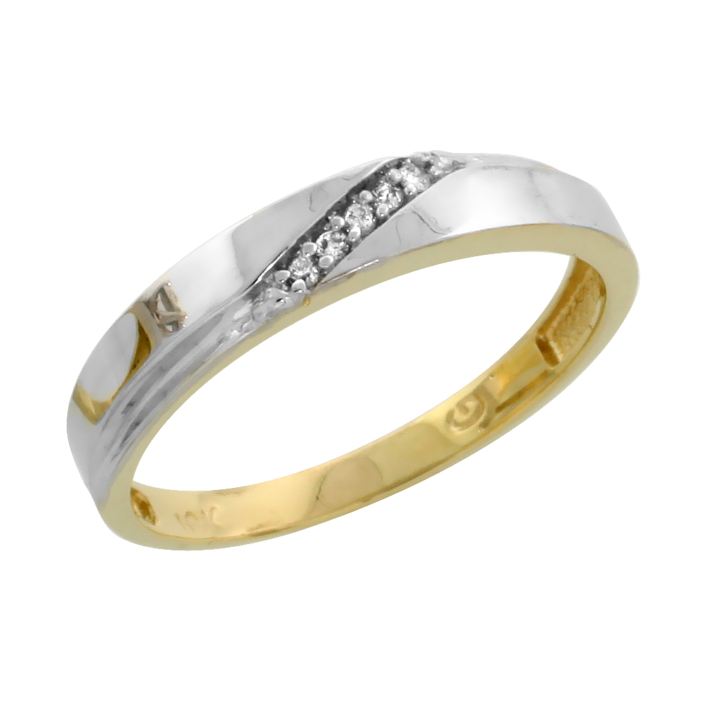 10k Yellow Gold Ladies Diamond Wedding Band Ring 0.03 cttw Brilliant Cut, 1/8 inch 3.5mm wide