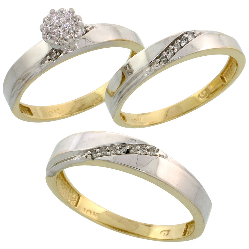 10k Yellow Gold Diamond Trio Engagement Wedding Ring Set for Him and Her 3-piece 4.5 mm & 3.5 mm wide 0.13 cttw Brilliant Cut, l
